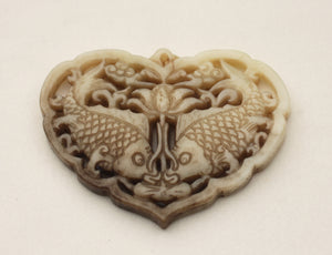 Carved Jade Old Focal Bead of Kissing Fish