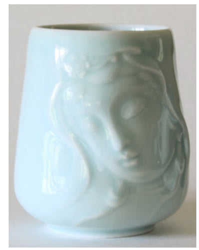 Kwan Yin Mug with a pretty face in Celadon Glaze