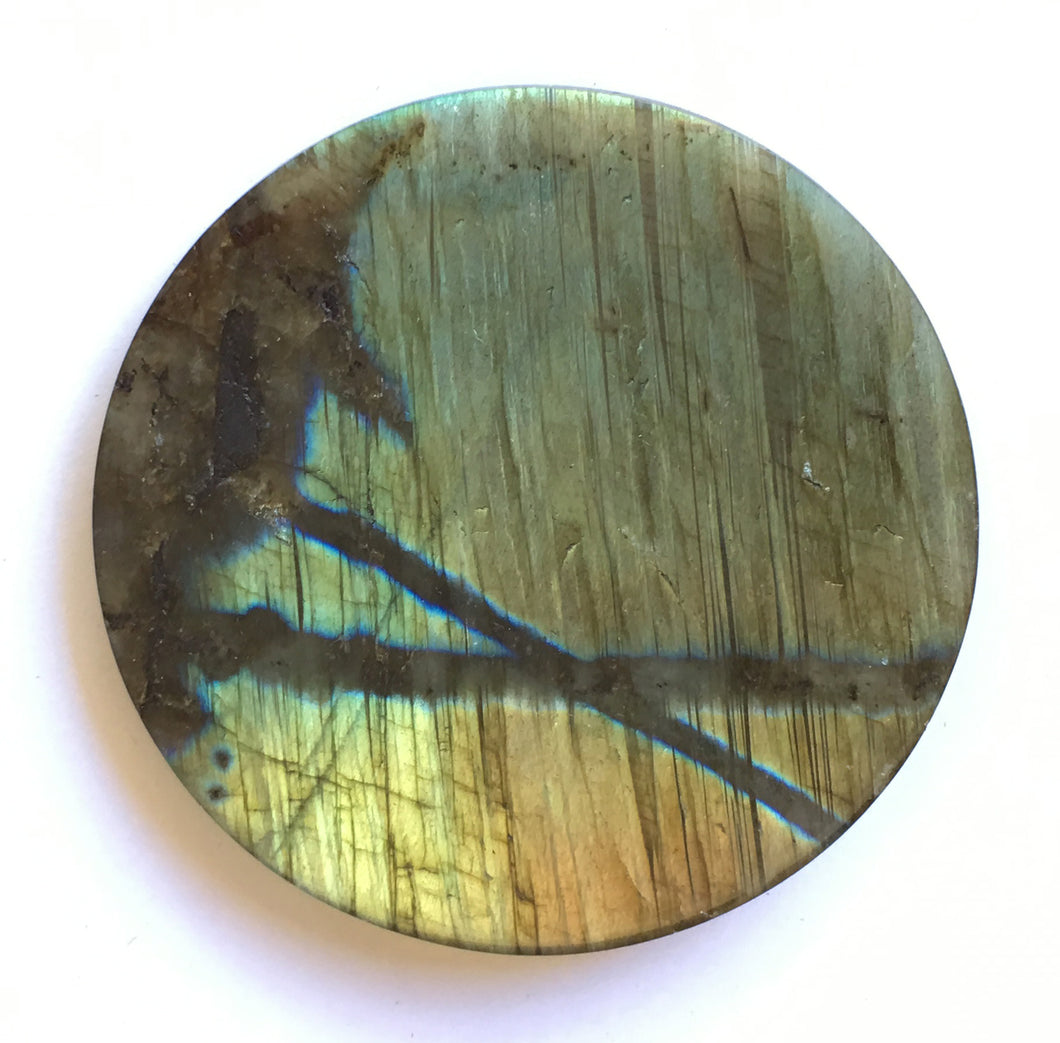 Labradorite Coaster or Paper Weight to attract positive energy into your food and drink or paperwork