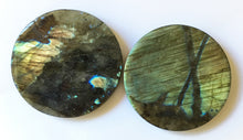 Load image into Gallery viewer, Labradorite Coaster or Paper Weight to attract positive energy into your food and drink or paperwork