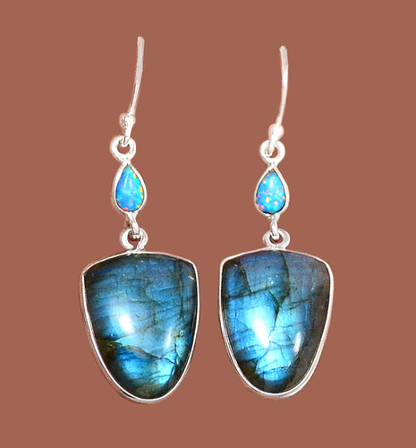 Labradorite Earrings with Fire Opal Accents - gorgeous peacock blue color