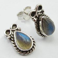 Load image into Gallery viewer, Labradorite Stud Earrings Infinity Symbol Setting