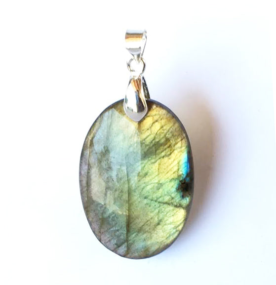 Rare yellow green Labradorite Pendant in oval shape with Silver Plated Bail