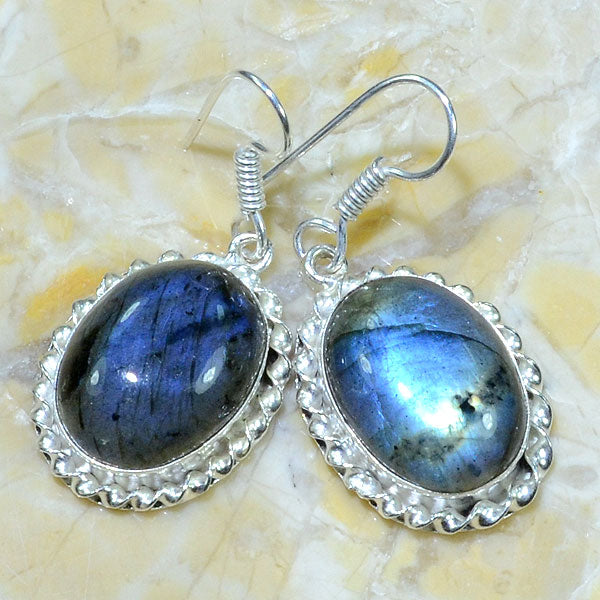 Labradorite Earrings in Silver Twist Frame Settings