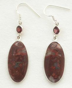 Laguna Lace Agate Earrings Adorned with Faceted Round Garnets