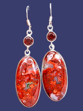 Load image into Gallery viewer, Laguna Lace Agate Earrings Adorned with Faceted Round Garnets