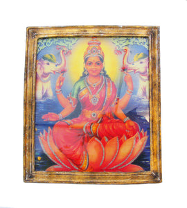 Lakshmi, Goddess of Fortune, Glittered Art Print in a Distressed Gold Frame