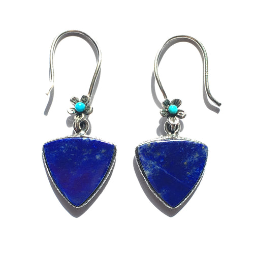 Lapis Lazuli earrings triangular design with flower ear wires with Turquoise centers