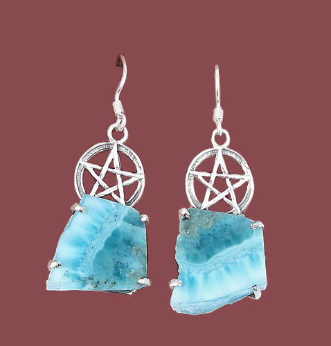 Larimar Stone Pentacle Earrings