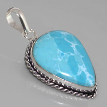 Load image into Gallery viewer, Larimar Pendant in Sterling Silver Rope Setting