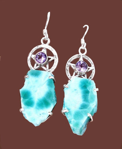 Larimar and Amethyst Pentacle Earrings