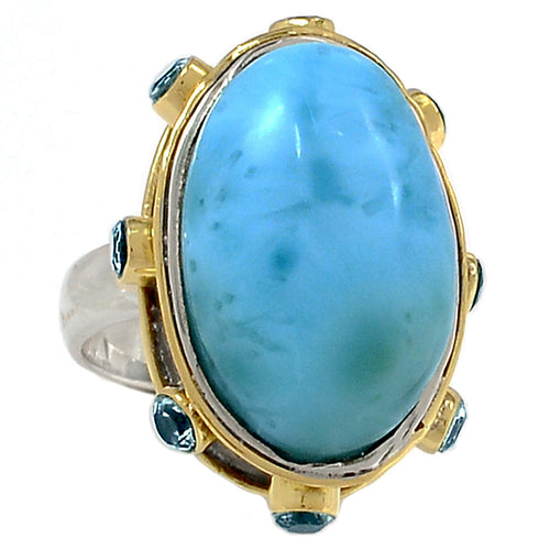 Larimar Ring with faceted Iolite in silver and bronze Anglo-Saxon style setting ring size 8
