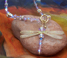 Load image into Gallery viewer, Dragonfly Beaded Necklace of Lavender Swarovski Crystals with Golden Toggle Closure