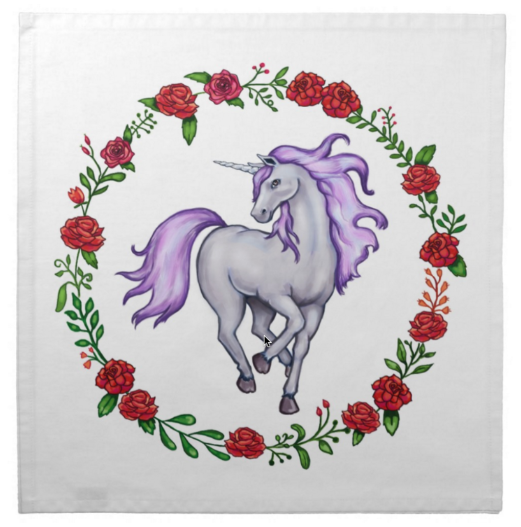 Unicorn Cotton Tarot Cloth with a Lavender Mane
