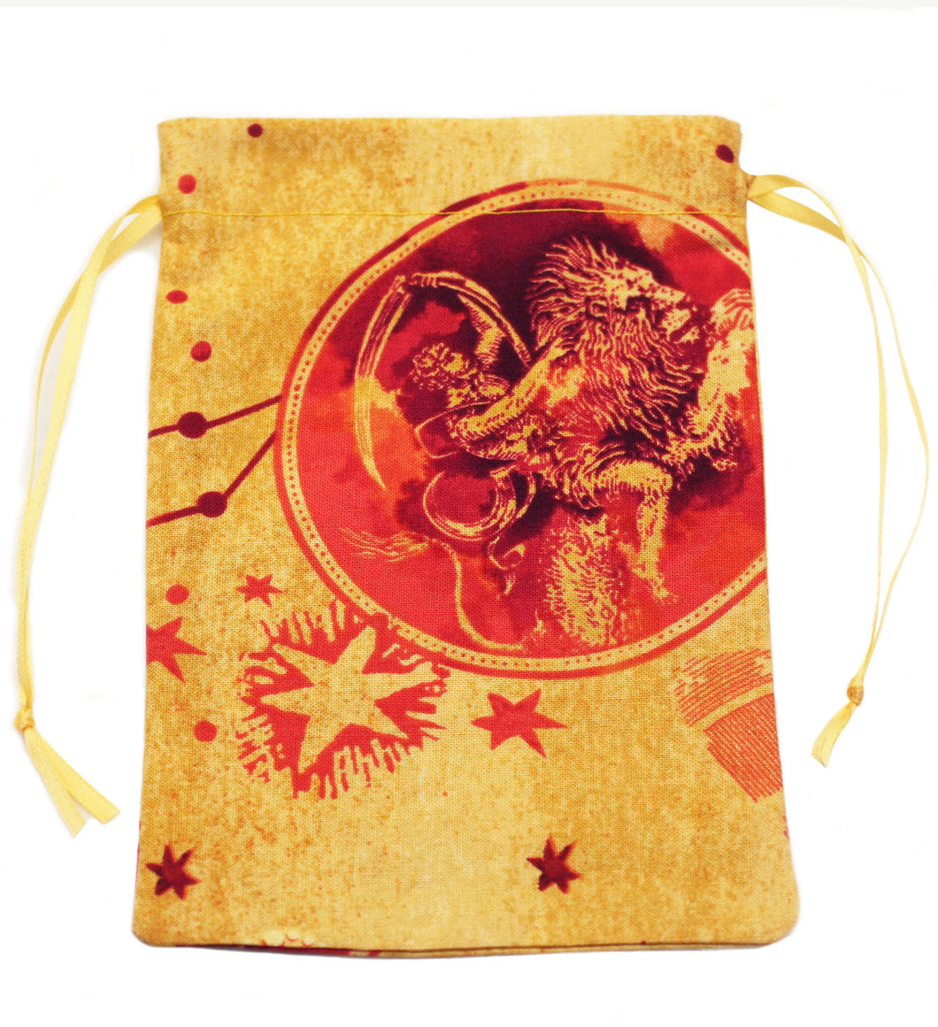 Leo Zodiac Sign Cotton Drawstring Bag for Your Tarot Deck