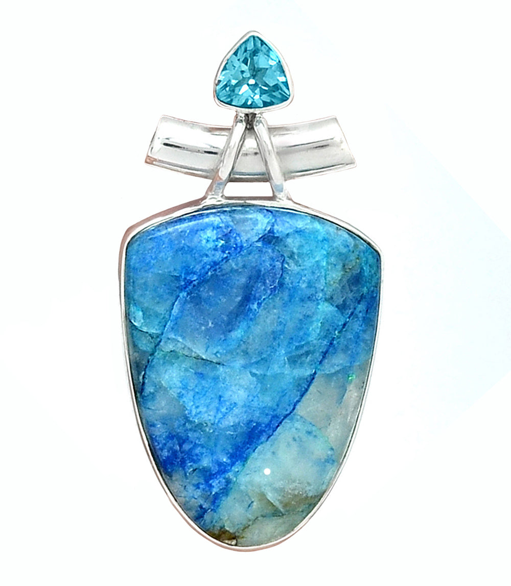 Lightning Azurite and Blue Topaz Pendant
