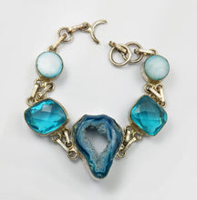 Load image into Gallery viewer, Blue Agate  Druzy, Blue Topaz and Mother of Pearl Silver LInk Bracelet