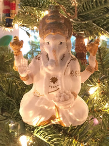 Ganesh Ornament with Four Arms Glittered White and Gold Cody Foster & Co Ornament
