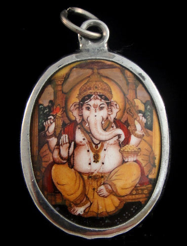 Lord Ganesh in Yellow Pants Enameled Brass Deity Pendant