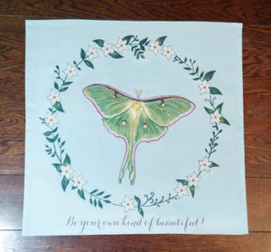 "Luna Moth on Blue Cotton Tarot Cloth ""Be your own kind of beautiful!"""