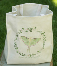 "Load image into Gallery viewer, Luna Moth Grocery Bag - Cotton Tote - ""Be your own kind of beautiful."""