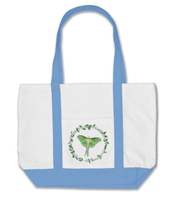 Luna Moth Natural Cotton Tote with Periwinkle Blue Straps and Base