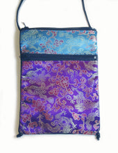 Load image into Gallery viewer, Tarot Bag in blue and purple Satin Brocade