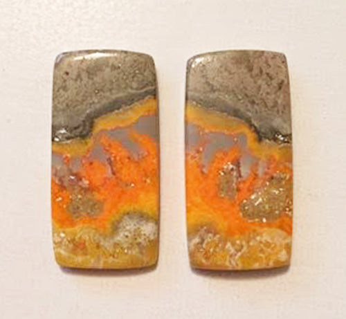 Bumblebee Jasper cabochons matched pair of long oblongs