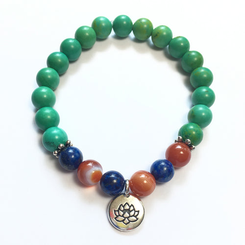 May Birthstone Bracelet Chrysocolla with Carnelian, Lapis and sterling silver spacers and lotus charm