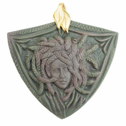 Medusa Medallion Pendant in Ribbon Jasper