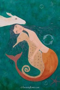 Mermaid and Sea Horse Blank Greeting Card - Original Illustration