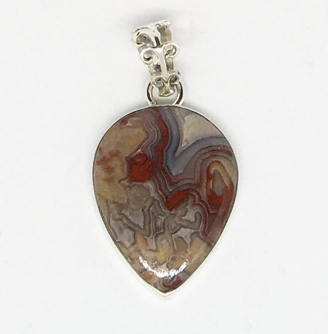 Laguna Crazy Lace Agate Pendant in sterling silver