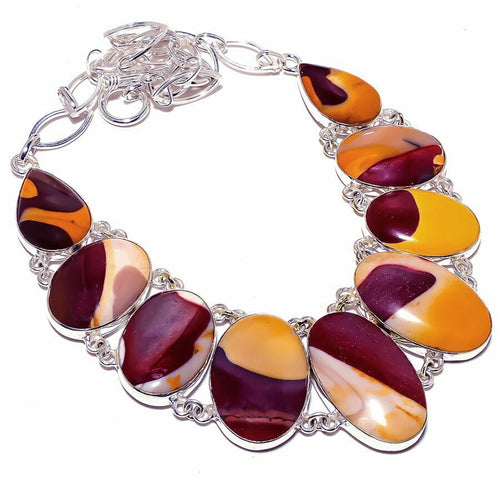 Mookaite Jasper Sterling Silver Chain Collar Necklace