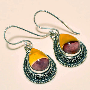 Mookaite Jasper Earrings in Sterling Silver Filigree