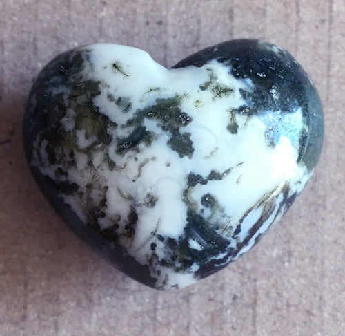 Moss Agate Heart Puffy 29.5mm Heart
