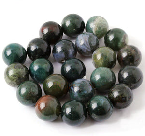 Green Moss Agate Beads 18mm Round Beads 15.5 inch Strand