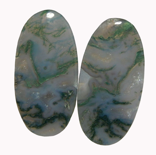 Green Moss Agate Cabochons Elongated Oval Matching Cabochons