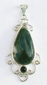 Green Moss Agate Pendant with Black Onyx