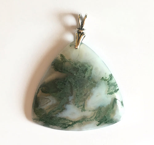Green Moss Agate Pendant in triangular shape with art deco silver bail