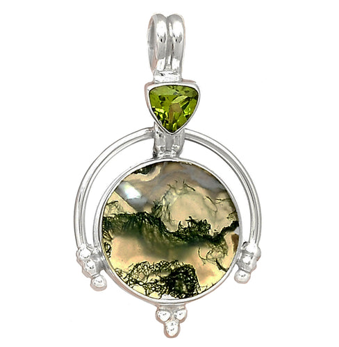 Green Moss Agate Pendant with Peridot