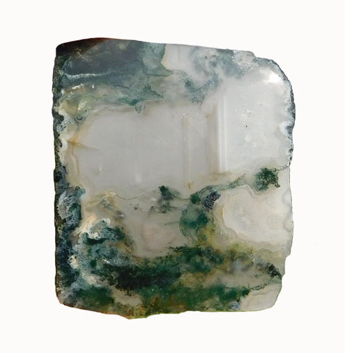 Green Moss Agate Specimen Slice Polished on One Side