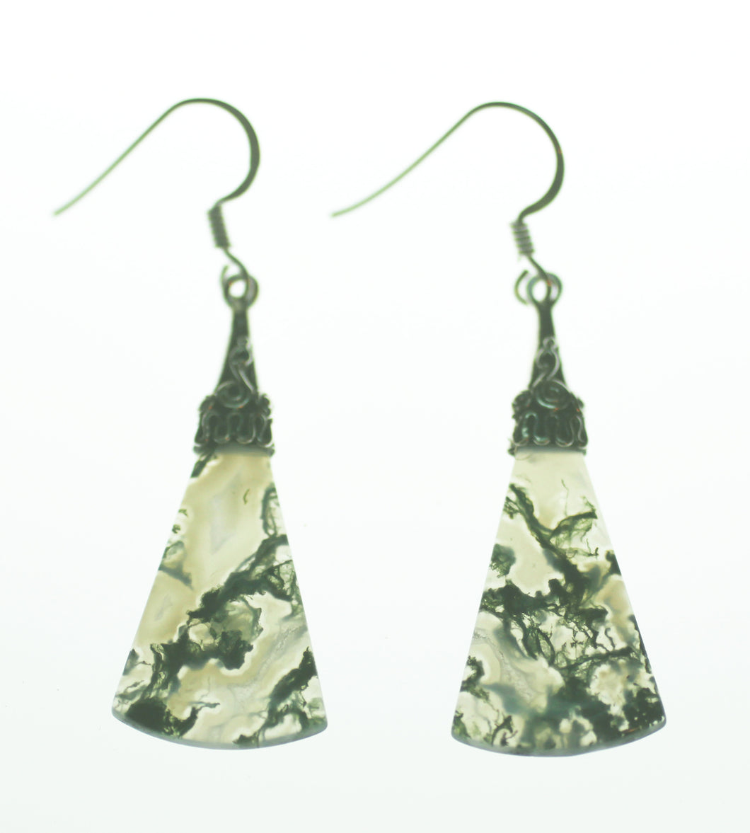 Moss Agate Earrings with Silver Filigree Cap
