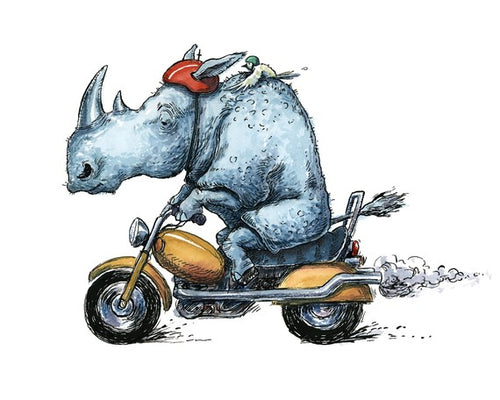 Rhino on Motorcycle Illustration Blank Greeting Card