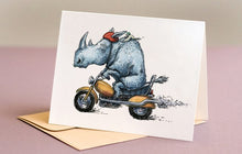 Load image into Gallery viewer, Rhino on Motorcycle Illustration Blank Greeting Card