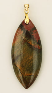 Picasso Stone Pendant with Gold Bail in Marquise Shape