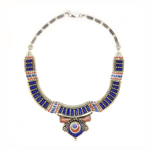 Nepalese Silver Lapis Lazuli Necklace with Red Coral Medallion Necklace