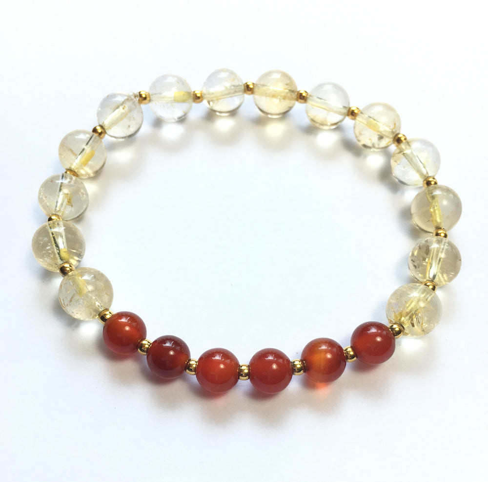 November Birthstone Citrine and Carnelian Elastic Bracelet