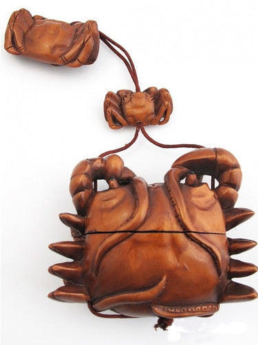 Crab on Octopus Inro Box with Crab Ojime Bead and Crab Netsuke Bead