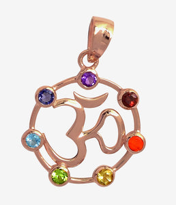 Om Symbol Rose Gold-Plated Silver Pendant Encircled by Chakra Gems