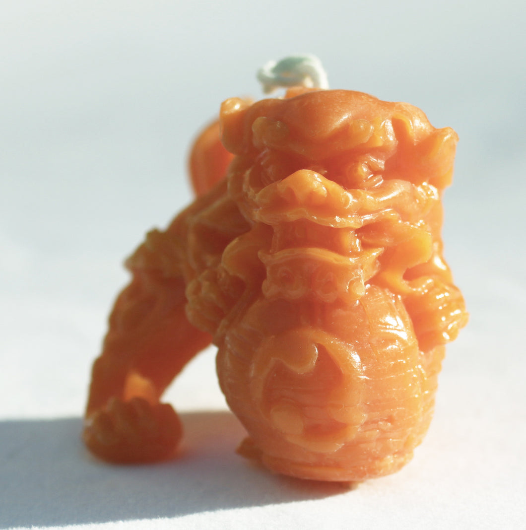 Foo Dog Beeswax Candle in True Orange 2 inches high